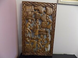 Primitive Folk Art Hand Carved Wall Hanging Picture Solid Piece Haiti