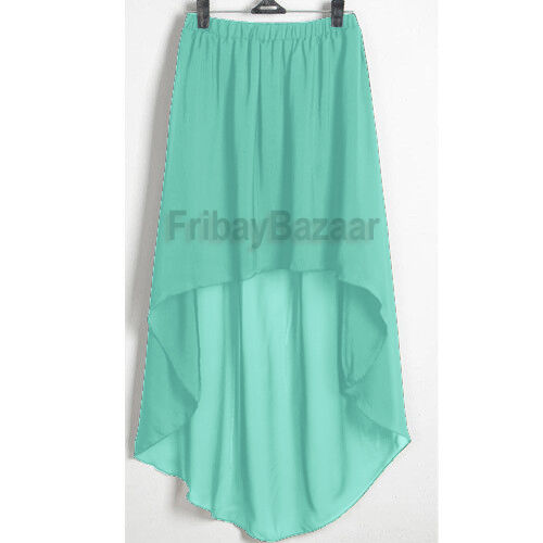 Women Lady Chiffon Hot Sexy Asym Skirts Waist Maxi High Low Hem S~3XL| 25 Colors