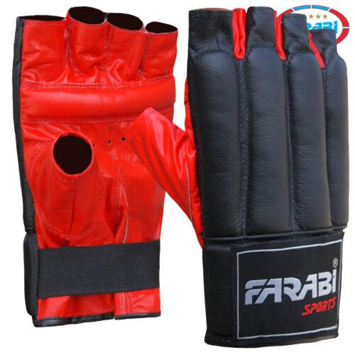 Farabi Sports CUOIO Punch Bag Mitt Guanti Kick Boxing risparmiando MMA Guanti