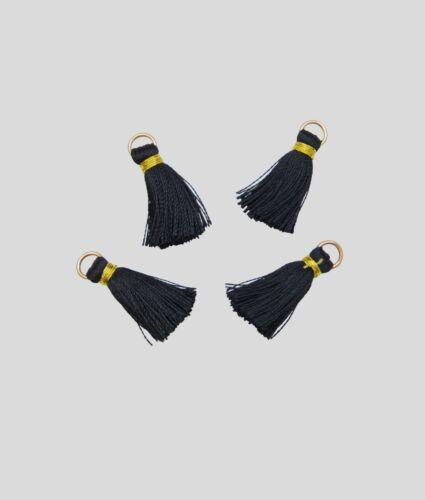 Couleur noir 25mm Charm Lot de 4 Petits Pompons Gland décoratif Breloques