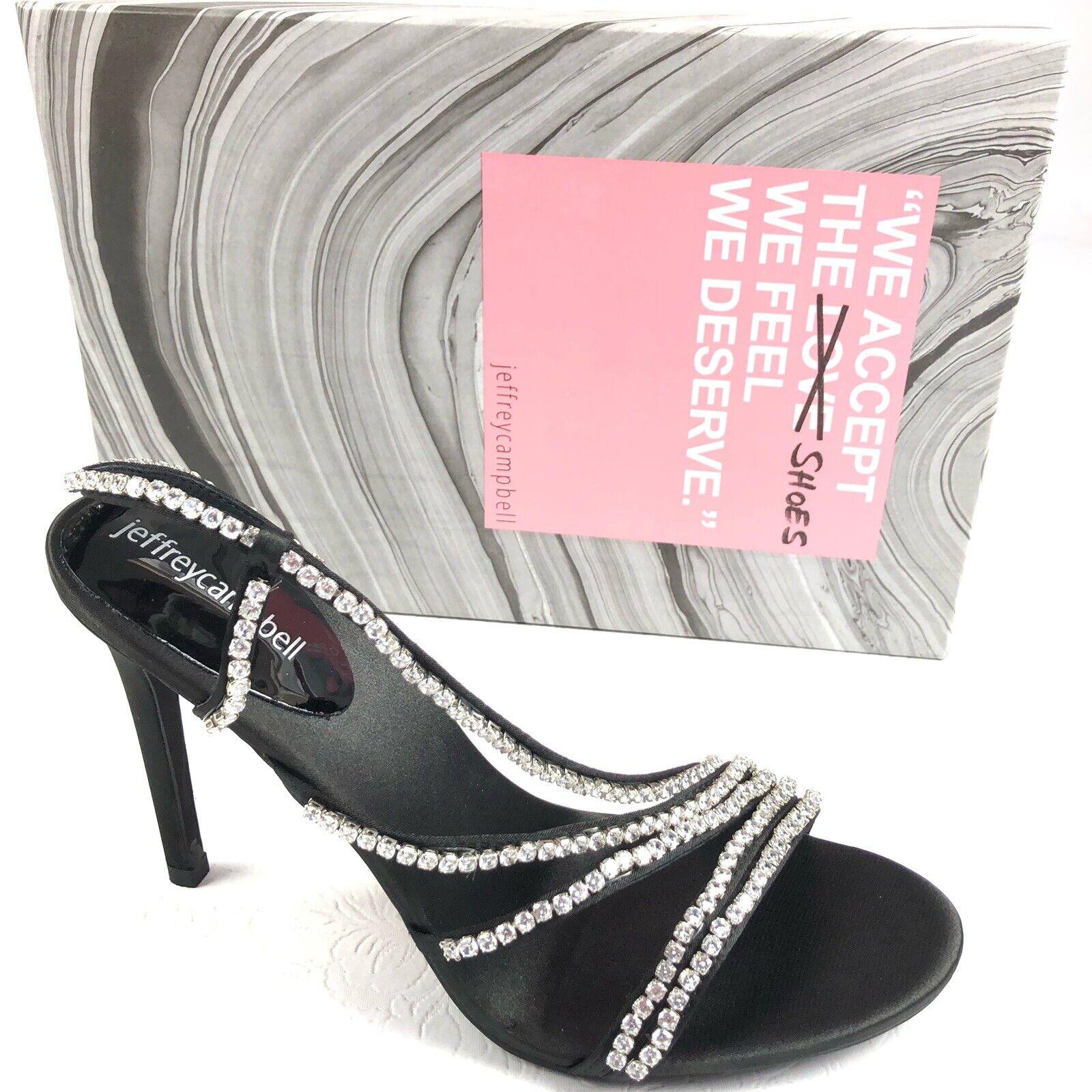 JEFFREY CAMPBELL Lilian embellished strappy sandals 8 M black satin heels prom
