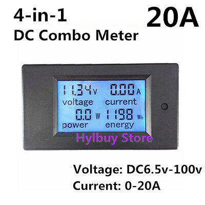 DC 20A LCD Combo Panel Meter Voltage Current KWh watt 12v 24v Car acid battery