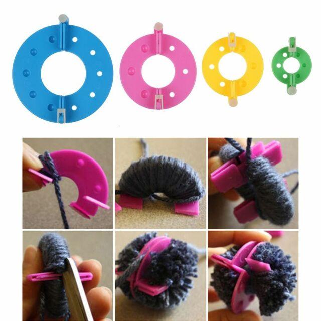 Größen Kunst DIY Pompon Set Selber Machen Bommel Maker Pompom Macher 4 Versch