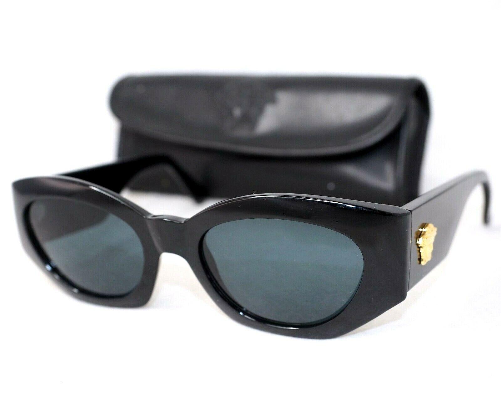 GIANNI VERSACE Sunglasses 420 852 black gray gold medusa head baroque vintage