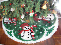 Wonder Art Christmas Holiday Tree Skirt Latch Hook Rug Kit,snowman,size 33,4590