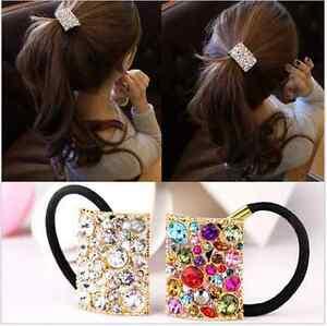 Fashion-Girls-Korean-Style-Square-Crystal-Rhinestone-Hair-Tie-Ponytail-Holder