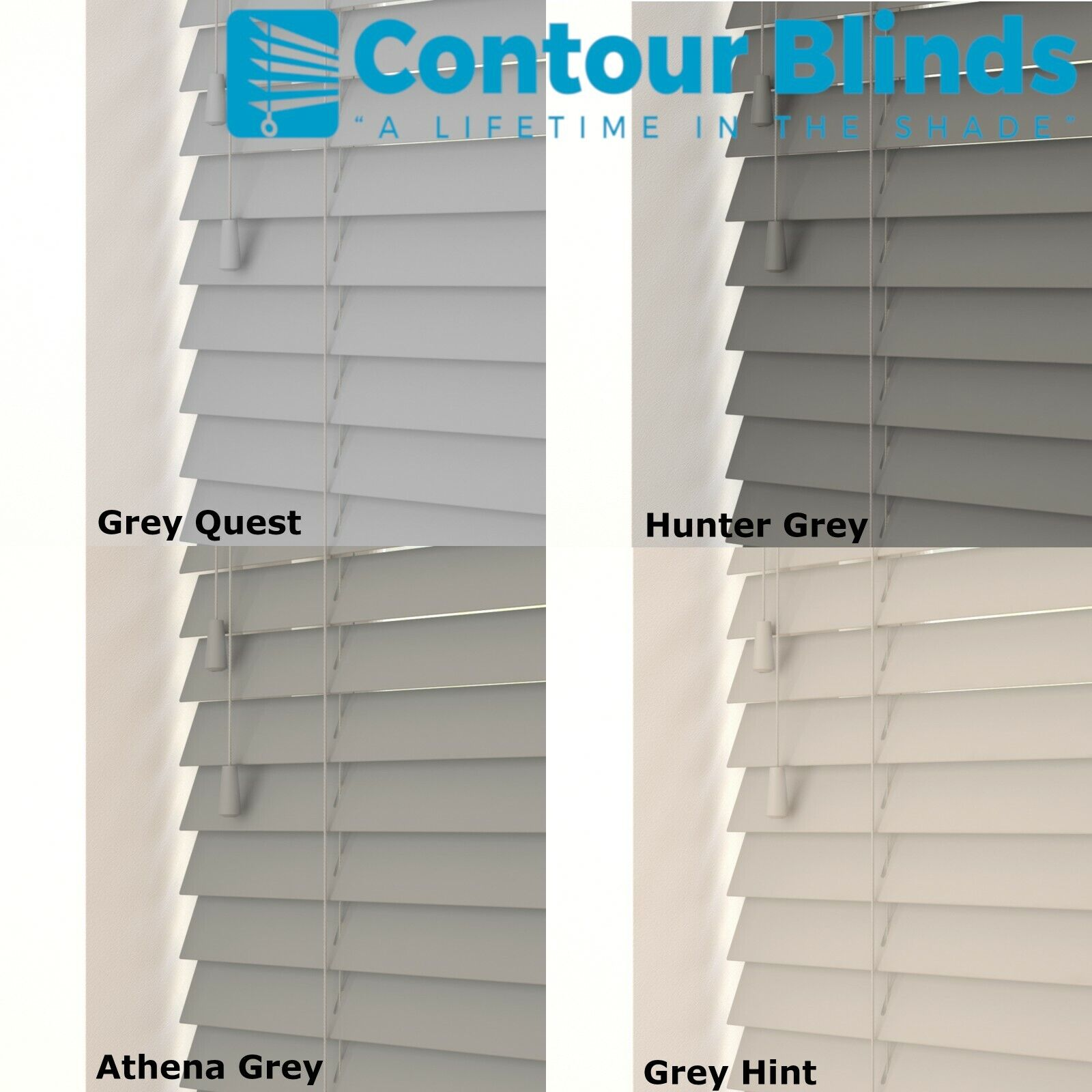 Grey And White Faux Wood Venetian Tailor Made Blind Child Safe 35mm 50mm Ebay