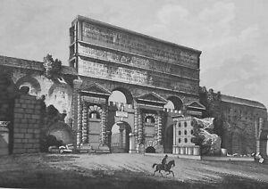 1830s-VIEW-OF-ROME-Claudius-Monument-Porta-Maggiore-Antique-Print-Copperplate