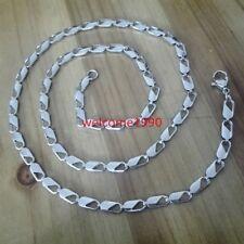 5pcs Lot Stainless Steel Women Bar Link Chain Necklace silver Jewlery in bulk