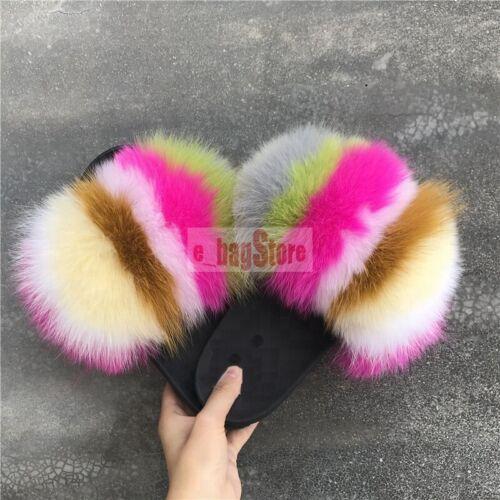Fashion femmes fourrure renard véritable//raton laveur fourrure diapositives SLIPPER OUTDOOR Chaussures Sandales