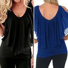 Nuevo Camiseta Mujer larga blusa top tirante TALLA S M L XL negro❤