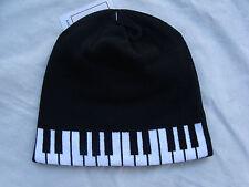 PIANO Keyboard Beanie Knit Acrylic/Spandex Great Music Gift Cute! NWT