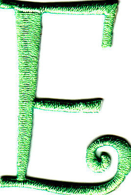 """SET OF 2 Lime Green Script Letters """"E"""" - Iron On Embroidered Applique"""