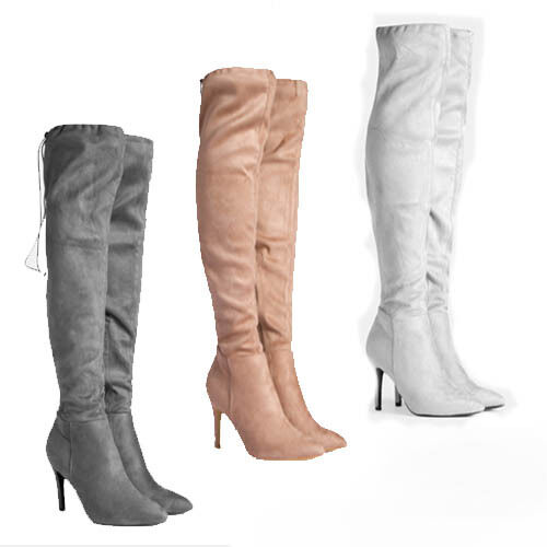 WOMENS STRETCH OVER THE KNEE HIGH HEEL LACE THIGH BOOTS LADIES SHOES SIZE 2-7