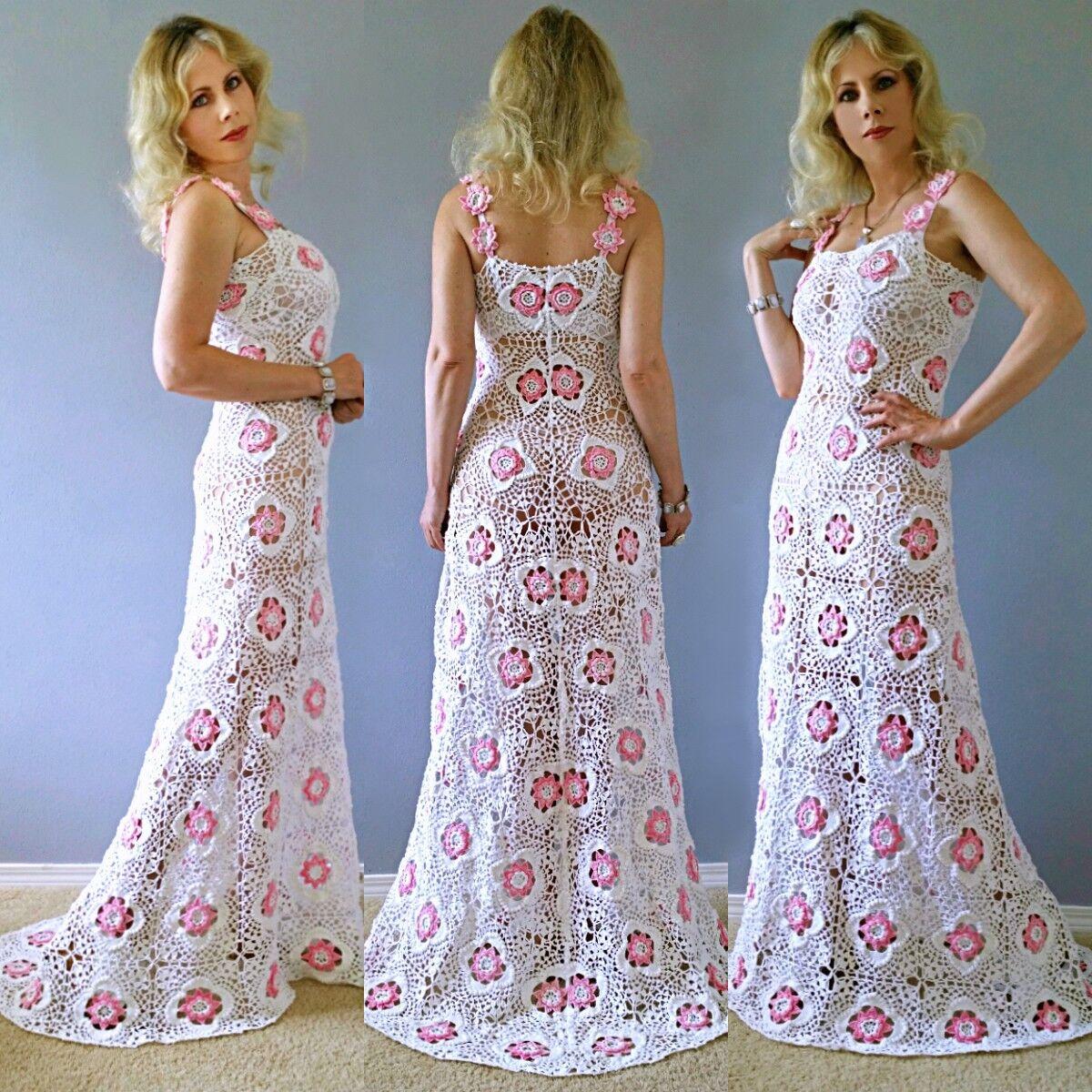 årgång Bohemian strand Crochet Sheer Lace Scallope Train bröllop Maxi DRESS