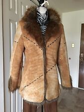BABY-PHAT DISTRESSED BROWN GENUINE LEATHER SUEDE FAUX FUR COLLAR LINING COAT S