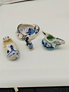 Vintage-HOLLAND-DELFT-BLUE-MINIATURES-5-Pieces-Gorgeous-Lot