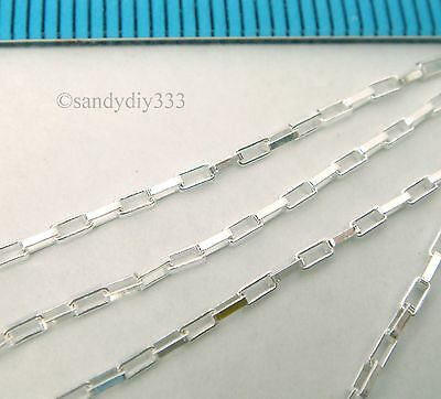 """24"""" (24 inches) ITALIAN STERLING SILVER RECTANGLE FOOTAGE LINK CHAIN 1.1mm #2407"""