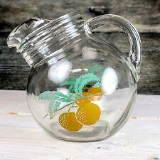 Vintage Glass Orange Juice Ball Tilt Pitcher Mid Century Modern Painted Citrus