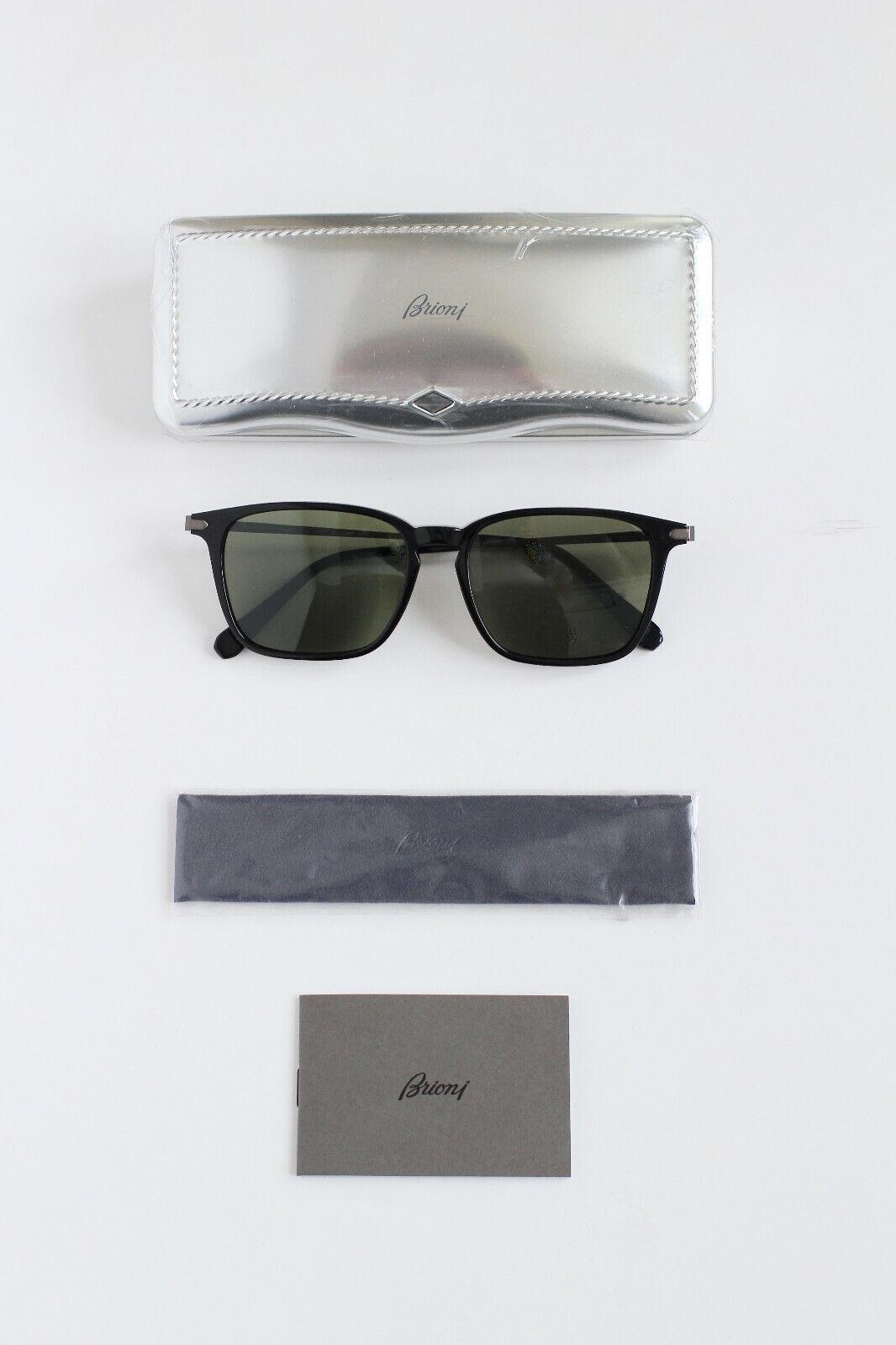 ! nuevo! Brioni Negro Marco de Titanio Lentes Verdes BR0002S 001 Gafas de Sol Anteojos