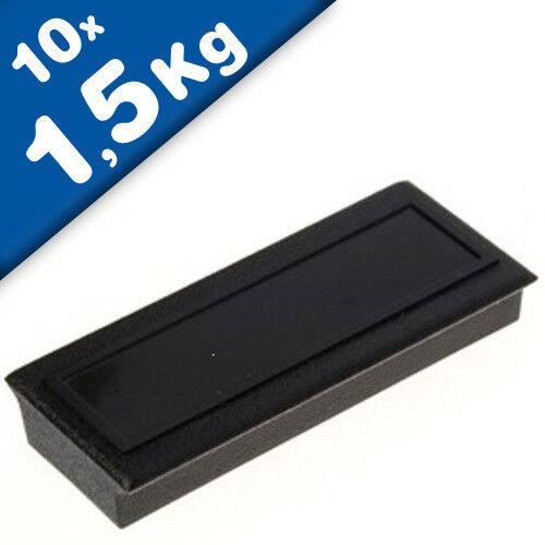 1,5kg 10 x Pinnwandmagnet Memomagnet 53 x 23 x 9mm Ferrit mit Etikettenfläche