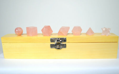 7pcs Rose Quartz Crystal Sacred Geometry Set w// Wooden Box Platonic Solids 1 SET