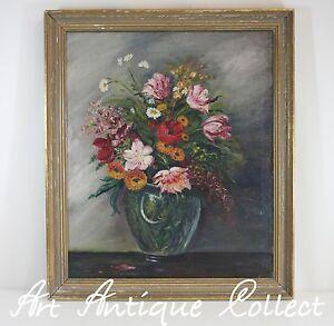 Dipinti a olio natura morta fiori tela con cornice 1930 for Fiori dipinti a olio