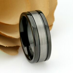 Black Brushed Tungsten Carbide Ring /& Custom Engraved Los Angeles Jewelry Men/'s Tungsten Wedding Band