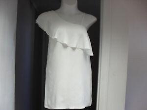 White-Mini-Dress-Ruffle-One-Shoulder-S-6-Club-Dress-Designer-NWT-119
