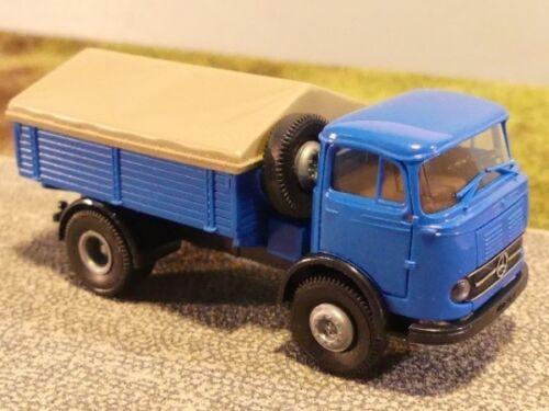 1//87 Brekina MB 328 Bleu Chassis Noir tracteur avec poids lourds PICK-UP