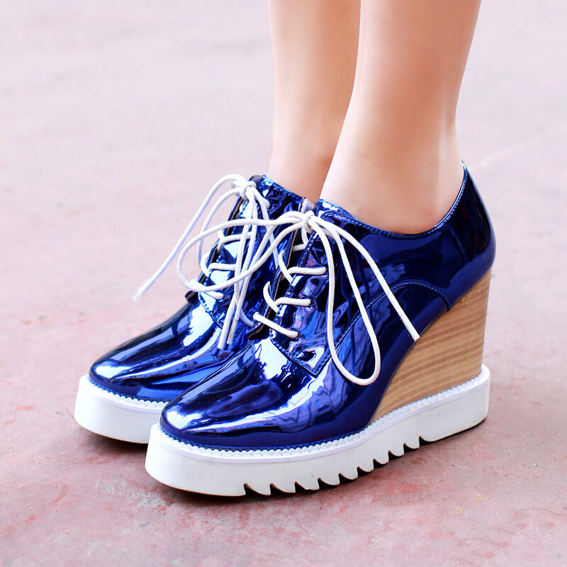 19 Womens BrogueS Patent Leather Wedge Heel Sneaker Punk shoes Pumps Large size