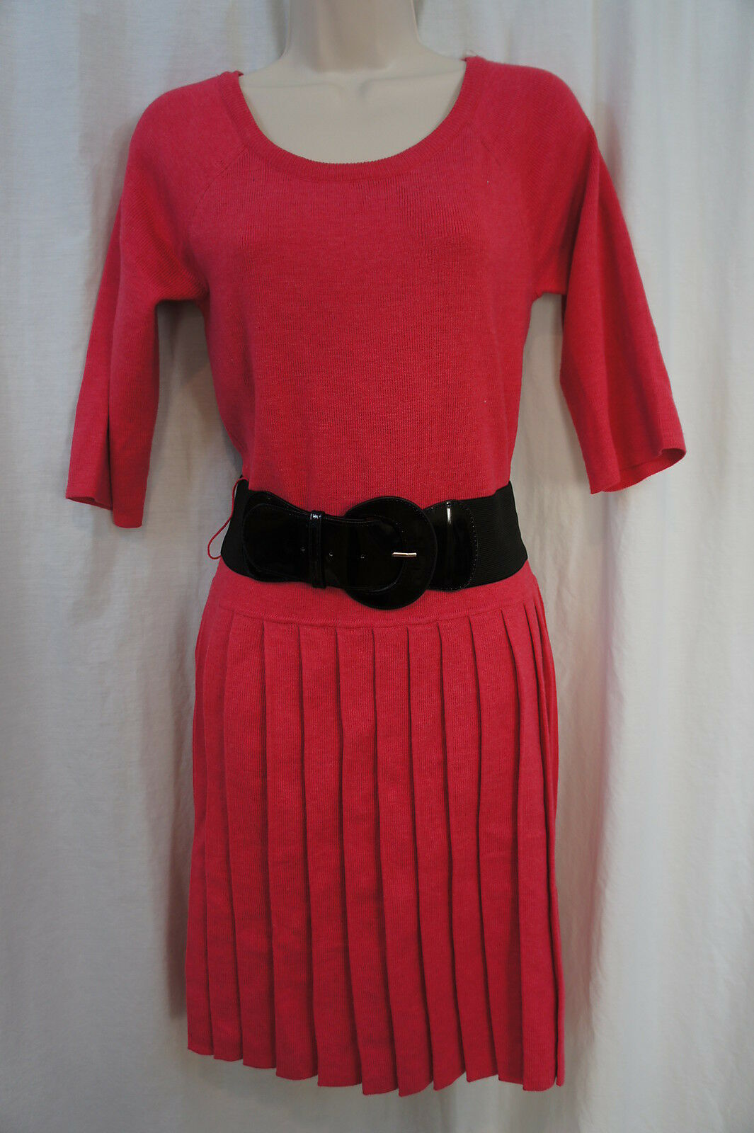 Signature by Robbie Bee Dress Sz L Pink Belted Waist Casual Party Dress