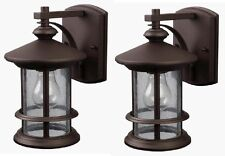 2 Pack Bronze Outdoor Wall Mount Lantern Lights Exterior Sconce Seeded Glass Lot