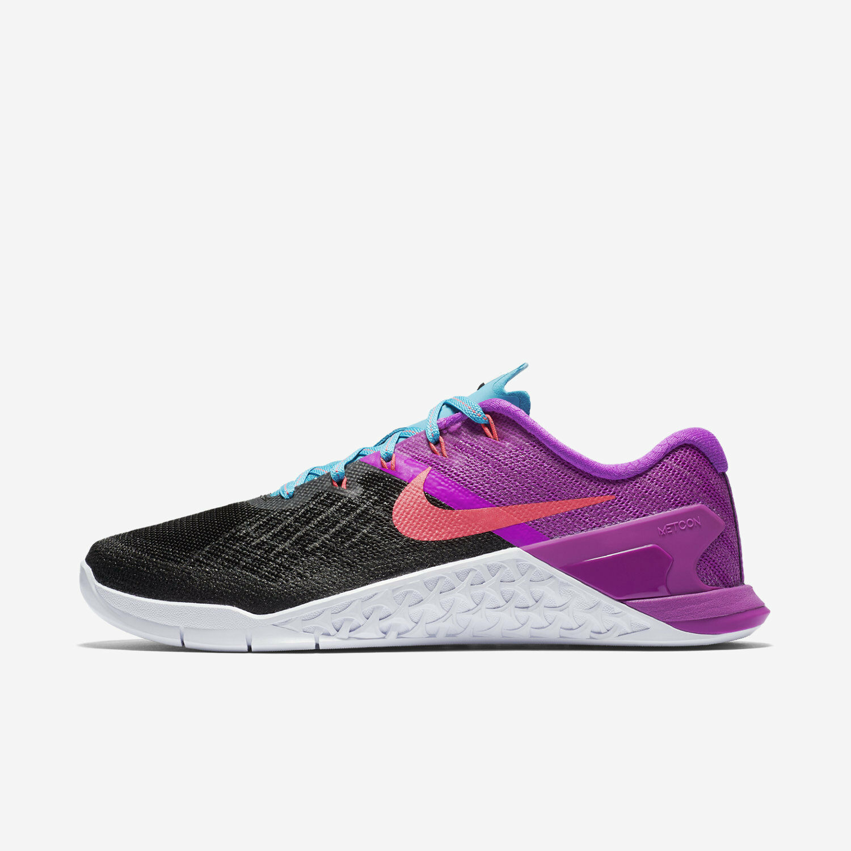 WOMEN'S Nike Metcon 3 Sz 5, 9.5 Black/Racer Pink/Violet 849807-002 FREE SHIPPING