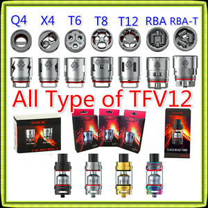 All Type - SMOK TFV12 Tank / Coils V12-Q4/X4/T6/T8/T12/RBA-T (Authentic/Clone)