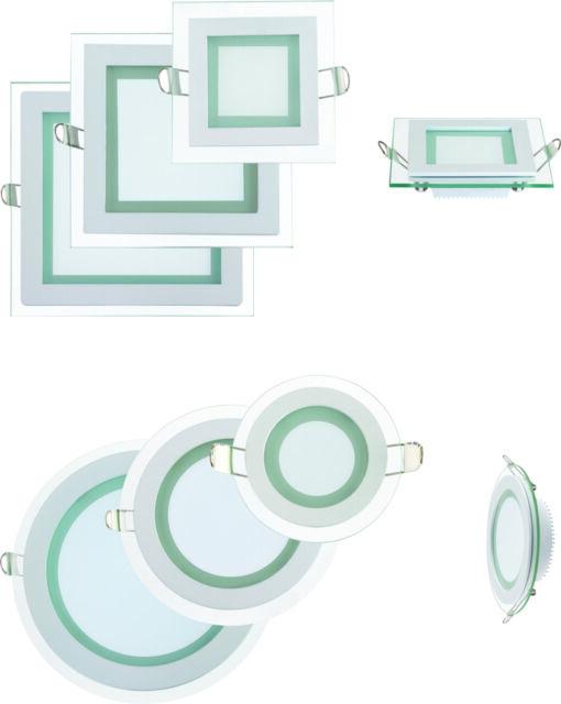 6 - 15W LED Glas Panel Flach Einbaustrahler Deckenleuchte Beleuchtung Rund Eckig