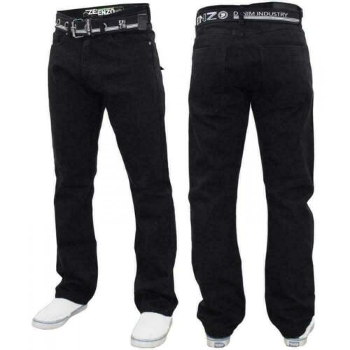 Mens Regular Fit Jeans Enzo Denim Pants Straight Leg Trouser Free Belt All Waist