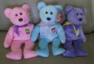 TY Beanie Baby Bears (3) - EGGS, EGGS II, EGGS III-Pink, Blue & Purple-mwmt's