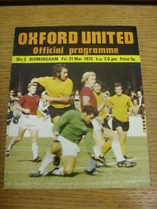 31-03-1972-Oxford-United-v-Birmingham-City-Light-Crease-Team-Changes-Thanks