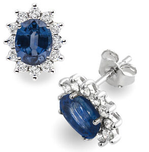 14Carat-White-Gold-Natural-Blue-Sapphire-amp-Diamond-Oval-Cluster-Earrings