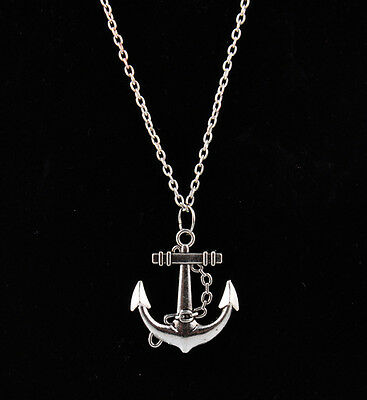 Vogue Marine Style Silver Anchor Pendant  Alloy Necklace Sweater Chain For Women