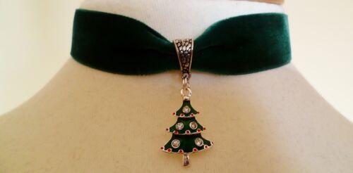 Diamantes de imitación de terciopelo verde Gargantilla de árbol de Navidad