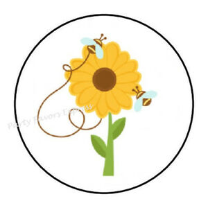 """30 1.5/"""" THANK YOU SUNFLOWER ORDER ENVELOPE SEALS LABELS STICKERS"""