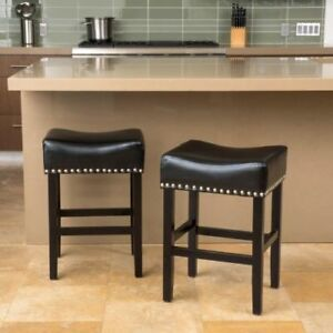 Buy Set Of 2 Contemporary Black Leather Backless Bar Stools 25