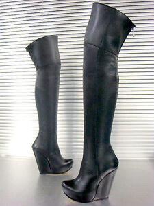 Platform Stivale Nero Luxury Boots Stiefel Mori New Botas Black Overknee Leather vN80mnwO