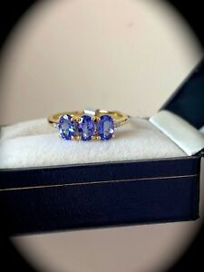 1-67CT-Tanzanite-amp-Diamante-Anillo-9K-Oro-Y-Tamano-P-1-2-034-certificado-AA-034-Fab-Colores