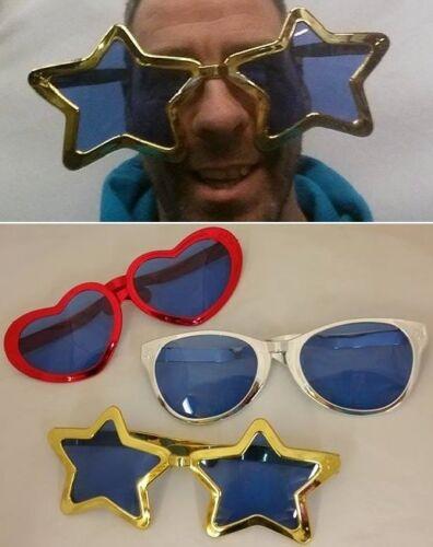 Jumbo Clown Fancy Dress Glasses Sunglasses Comedy Specs 3 Metallic Designs New h