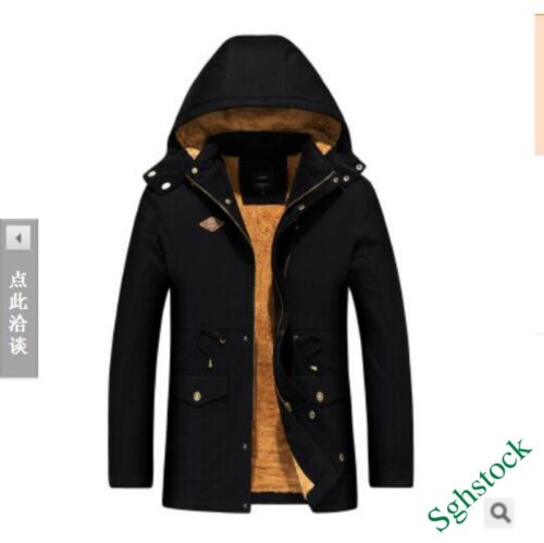 Men/'s Hooded Fur Linning Outdoor Thick Coat Jacket Hooded Fashion Chic Stylish/&/&