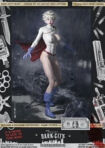 Power-Girl-Kara-Zor-L-Justice-League-Sexy-Dark-City-Var-A3-Comic-Print-Signed