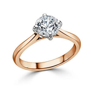Obedient 2.00 Carat Round Cut Diamond Engagement 14k Solid Rose Gold Rings Size N M J I O Fine Jewelry Jewelry & Watches
